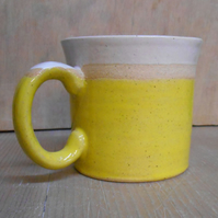 Wheel thrown smaller Sun Yellow stripe mug.