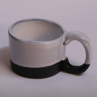Mug Black clay White glazed Stoneware Espresso Ceramic.