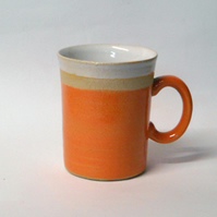 New Wheel thrown Orange stripe Ceramic mug.