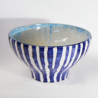 Bowl, Blue striped and  textured Ceramic.