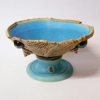 Shell Sprigged Stemmed Bowl.