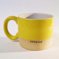Mug Wheel thrown London Ceramic Sun Yellow.