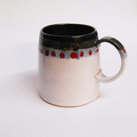 Black white with red dotty Mug.