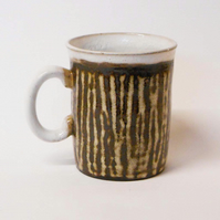 Black clay striped Mug.