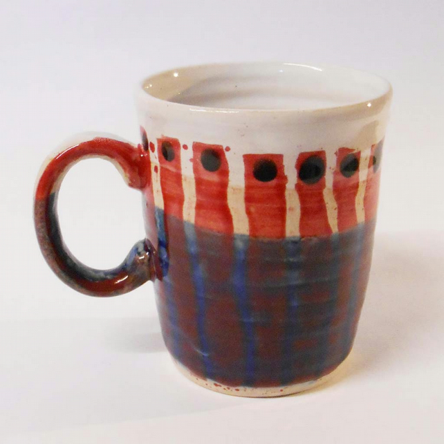 Mug Stoneware Ceramic with Midnight Blue and white stripes.