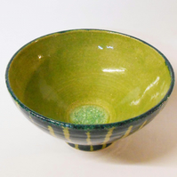 Bowl, Wheel thrown Unique Three shades of green.