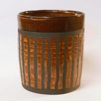 Planter or Utensil Holder Black Clay striped glaze.