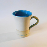 Elegant Turquoise and white Trumpet Mug.