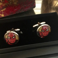 Spiderman, Super Hero Silver Plated Cufflinks.