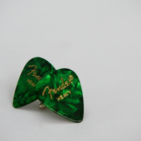 Green marble effect Fender Plectrum Silver Plated Cufflinks .
