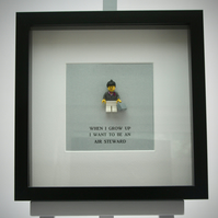 When I grow up I want to be an Air Steward LEGO mini figure frame.