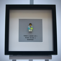 When I grow up I want to be A Scientist LEGO mini Figure frame.