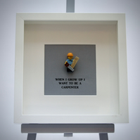 When I grow up I want to be A Carpenter LEGO mini Figure frame