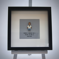 When I grow up I want to be  A Doctor Lego mini Figure frame,