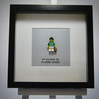 I'd Rather be Playing Rugby LEGO mini Figure frame.
