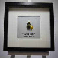 I'm a Firefighter, Whats your super power LEGO mini Figure frame