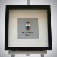 When I grow up I want to be A Dentist (female) LEGO mini Figure frame