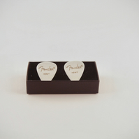 White Fender Plectrum Silver Plated Cufflinks