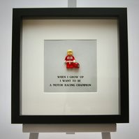 When I grow up I want to.be a Motor Racing Champion Lego frame.