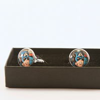 Captain America, Super Hero Silver Plated Cufflinks