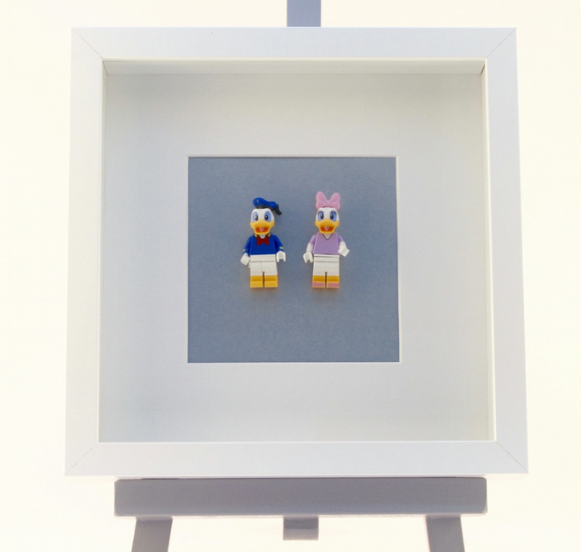 Donald and Daisy Duck  mini Figures framed picture