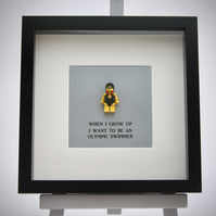 When I grow up I want to be An Olympic swimmer LEGO mini Figure frame