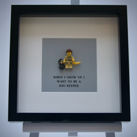 When I grow up I want to be a Zoo Keeper Lego mini Figure framed picture