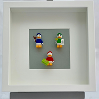 Huey, Dewey & Louie Lego mini Figures framed picture