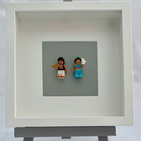 Disney Aladdin and Jasmine Lego mini Figures framed picture