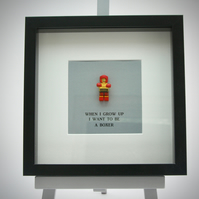 When I grow up I want to be  a  Boxer mini Figure framed picture
