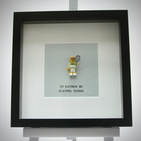 I'd rather be playing Tennis Lego mini Figure framed picture