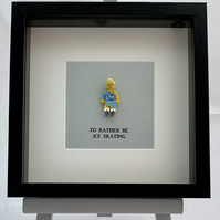 I'd rather be Ice Skating Lego mini Figure framed picture