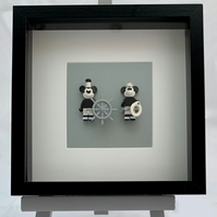 Vintage style Mickey and Minnie Lego mini Figures framed picture