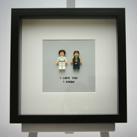 Han Solo and Princess Leia mini Figures framed picture 25 by 25 cm