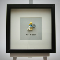 Best in Show LEGO mini Figure framed picture 25 by 25 cm