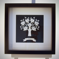 Personalised white glittery Family Tree
