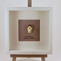 I'd Rather be Playing Cricket LEGO mini Figure frame