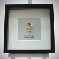 I'd rather be playing Tennis Lego mini Figure frame