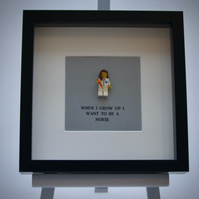 When I grow up I want to be a Nurse LEGO mini Figure framed picture