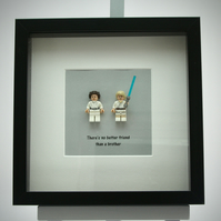 Princess Leia and Luke Skywalker mini Figures framed picture