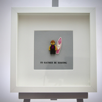I'd Rather be Surfing (female) LEGO mini Figure framed picture