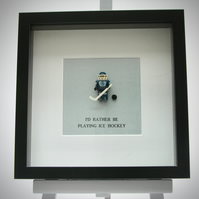 I'd Rather be playing Ice Hockey LEGO mini Figure framed picture