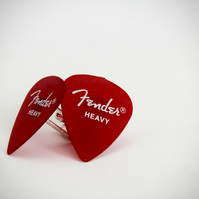 Frosted red Fender Plectrum Silver Plated Cufflinks .