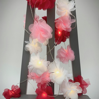 20 chiffon flower Fairy Lights - in fuchsia, pink and white.