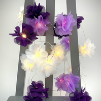20 chiffon flower Fairy Lights in purple, lilac and white
