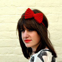 Pretty Red Hand Knitted Bow Alice Band