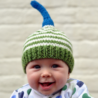 The Knitted Natty Hat in Green and Cream Stripe