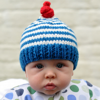 The Knitted Natty Hat in Blue and Cream Stripe