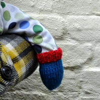The Dolly Mitts on a String in Blue with Red Cuff