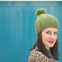 The Lazy Bobble Hat in Meadow Green